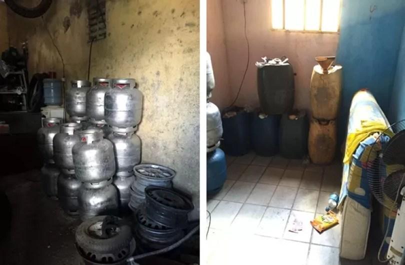 Galões de gasolina e butijões de gás clandestinos foram encontrados com o suspeito em São Gonçalo do Amarante (Foto: Divulgação/ Polícia Civil)