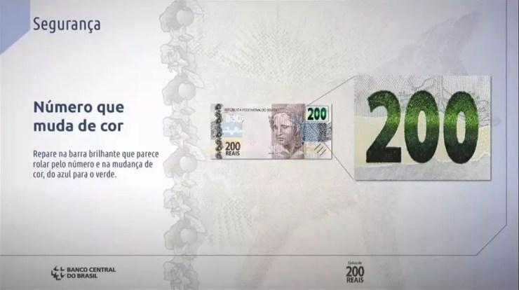 Itens de segurança da nota de R$ 200