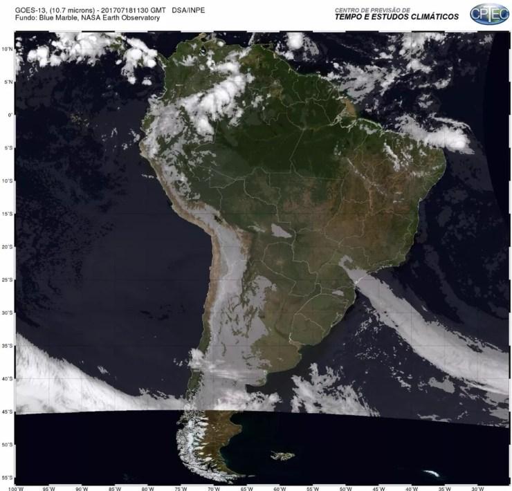 Frente fria chega acompanhada de uma massa de ar polar e derruba temperatura no Rio (Foto: Centro de Previsão de Tempo e Estudos Climáticos)