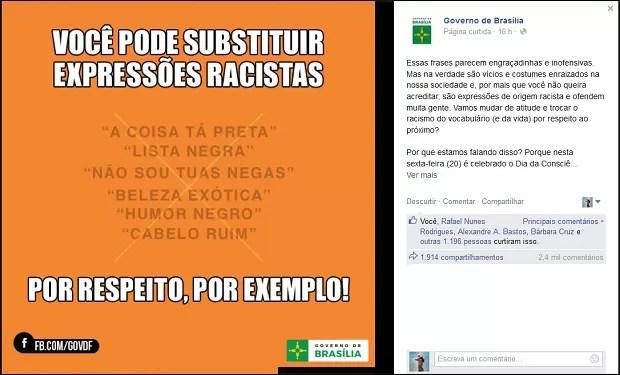 Publicação feita pelo governo do Distrito Federal em redes sociais contra uso de expressões racistas (Foto: Facebook/Reprodução)