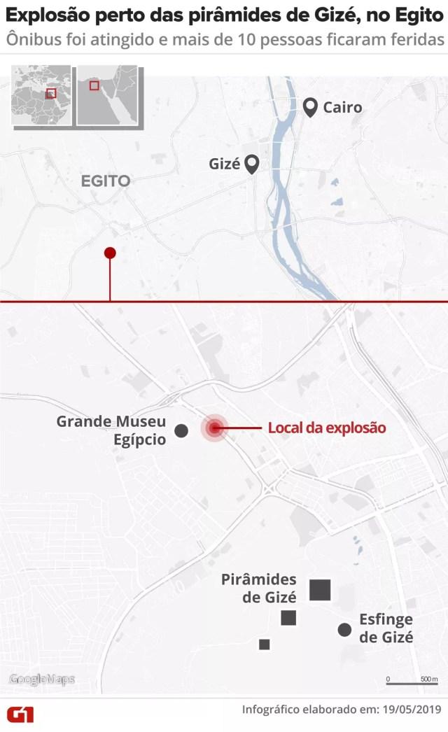 Bomba explode perto de ônibus de turismo nos arredores das pirâmides de Gizé e deixa feridos no Egito 3