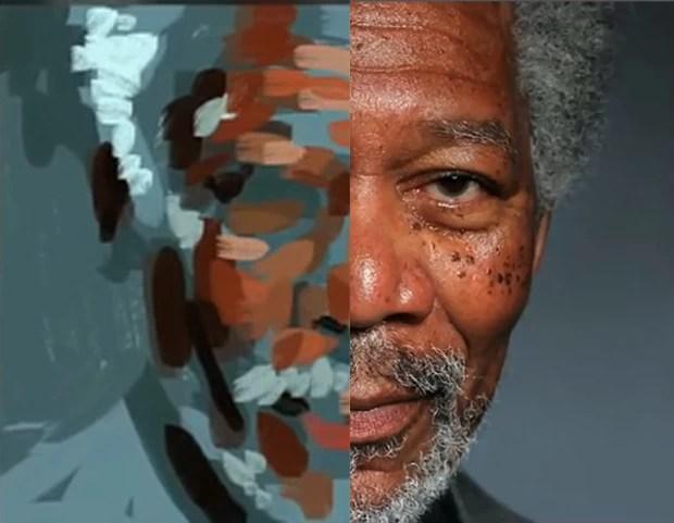 Artista criou retrato ultrarrealista de Morgan Freeman usando apenas os dedos e um aplicativo para iPad (Foto: Reprodução/YouTube/Kyle Lambert)