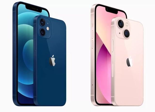iPhone 12 e iPhone 13 têm visual bem similar; principal mudança está na disposição das câmeras — Foto: Divulgação