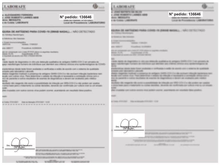 Exames com suspeita de fraude têm o mesmo número de pedido e a assinatura da coordenadora que faleceu — Foto: Reprodução