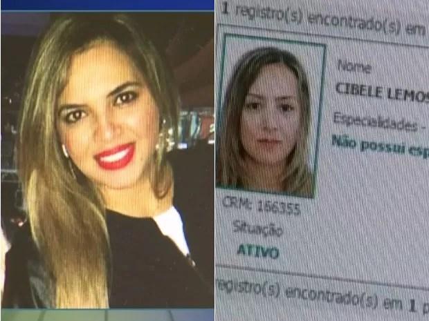À direita, a falsa médica; à esquerda, perfil da verdadeira profissional (Foto: Reprodução/TV Tem)