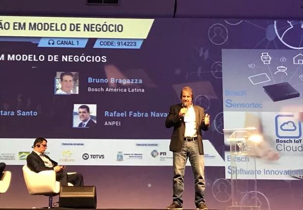 Bruno Bragazza, gerente de inovação, novos negócios e propriedade intelectual da Bosch na América Latina, durante a Conferência ANPEI de Inovação 2019. (Foto: Época NEGÓCIOS)