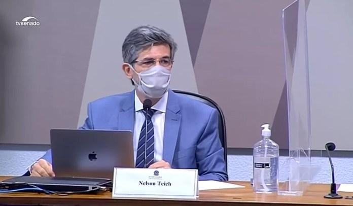 O ex-ministro da Saúde Nelson Teich durante depoimento na CPI — Foto: Reprodução