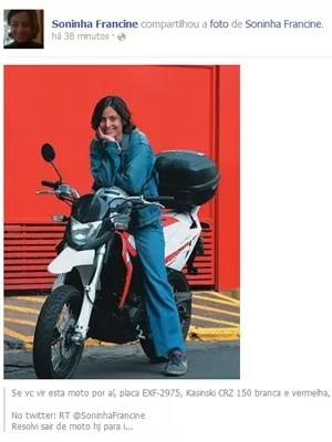 Soninha com sua moto em foto postada no Facebook (Foto: Reprodução/Facebook)