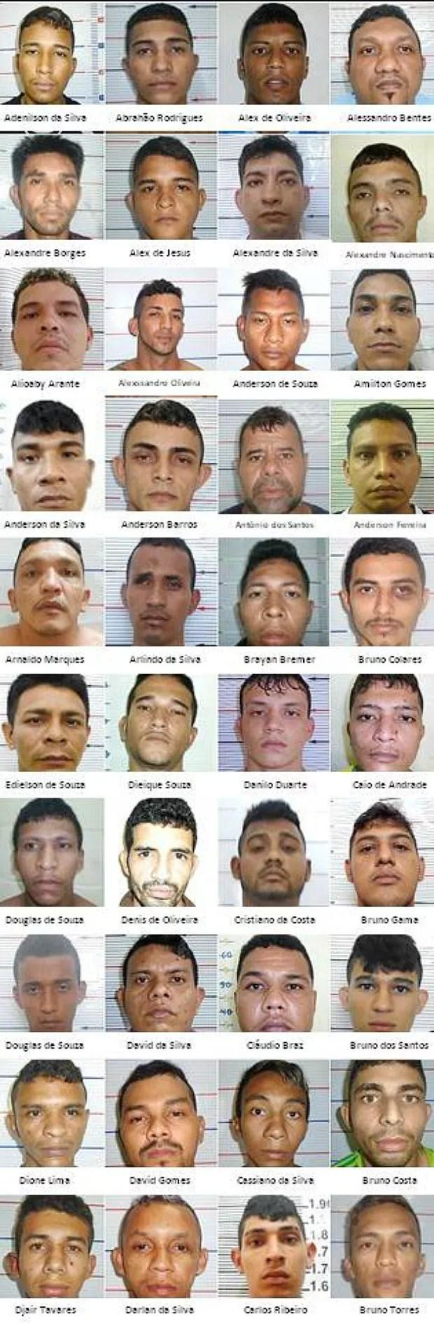 Lista 1-40 de foragidos de presídios do Amazonas (Foto: Reprodução / Divulgação)