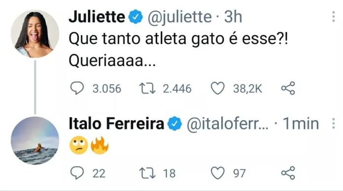 Juliette elogia beleza de atletas olímpicos nas redes sociais e Italo Ferreira responde — Foto: Reprodução