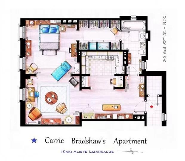 O apartamento de Carrie Bradshaw, da série Sex and the City (Foto: Nikneuk)