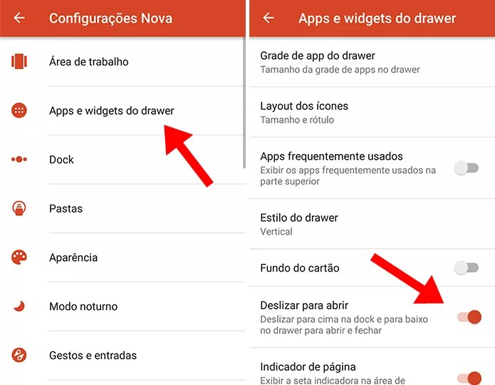 Ative o deslize para abrir a lista de apps (Foto: Reprodução/Paulo Alves)