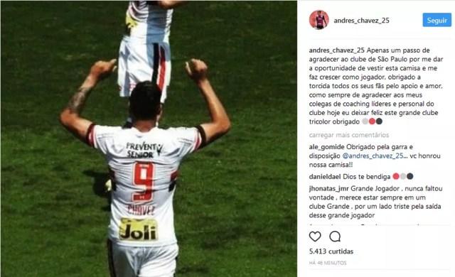 Mensagem de agradecimento postada por Chavez (Foto: Reprodução/Instagram)
