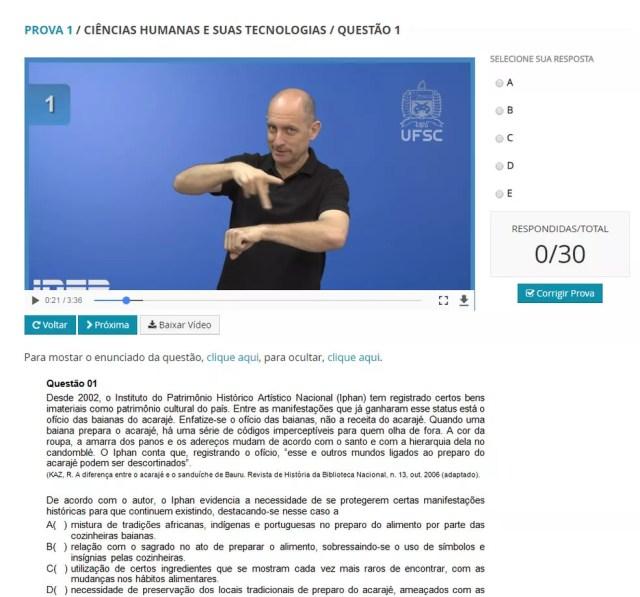 Inep divulgou simulado de questões do Enem para surdos (Foto: Reprodução/Inep)