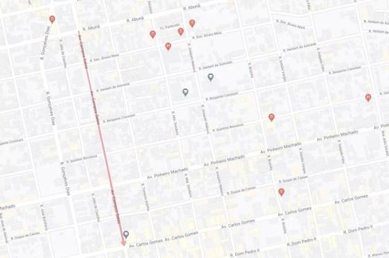 Novo sentido da Campos Sales.  — Foto: Google Maps/Divulgação