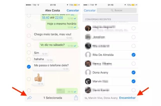 Tela de seleção de contatos para o encaminhamento de mensagens no WhatsApp para iPhone (Foto: Reprodução/Marvin Costa)