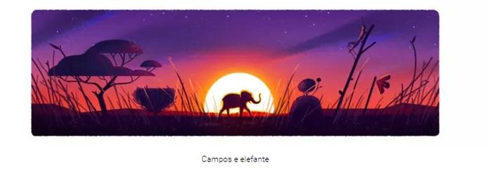 Os elefantes em extinção foram ilustrados no doodle Dia da Terra 2016 (Reprodução/Carol Danelli)