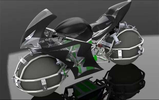 Moto possui esferas no lugar das rodas (Foto: Divulgação)