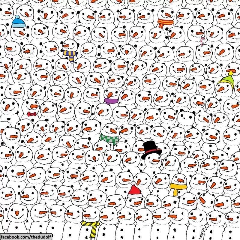 Encontre o panda entre os bonecos de neve (FOTO: REPRODUÇÃO/THE DUDOLF)