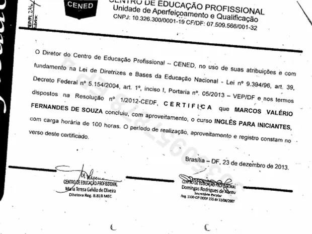 Diploma do curso de inglês para iniciantes feito por Marcos Valério (Foto: Reprodução)