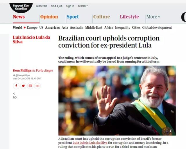 Guardian noticia a manutenção da condenação de Lula (Foto: Reprodução/The Guardian)