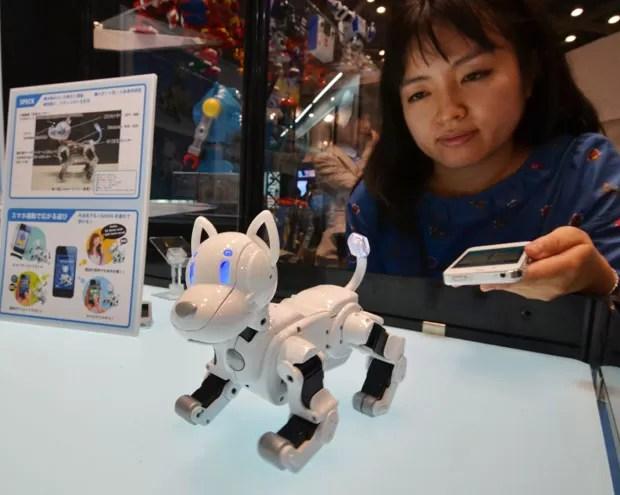 Outra empresa também aposta em robôs, mas desta vez em um cachorrinho. O 'iSodog' pode ser controlado pelo dono usando um aplicativo para o iPhone, obedecendo aos comandos e realizando alguns movimentos específicos (Foto: Yoshikazu Tsuno/AFP)