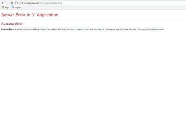 Mensagem de erro indica queda do site do TJ em São Paulo (Foto: Reprodução)