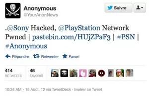 Mensagem do Anonymous afirmava que a PSN tinha sido atacada (Foto: Reprodução)
