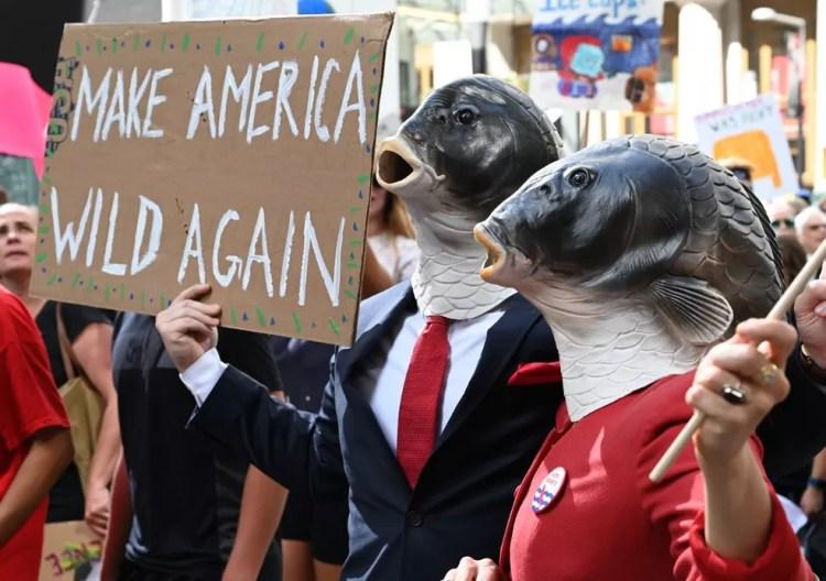 """Manifestantes erguem cartaz com dizeres """"Faça a América selvagem de novo"""", em alusão ao slogan do presidente Donald Trump, durante protesto em Nova York. — Foto: TIMOTHY A. CLARY / AFP"""