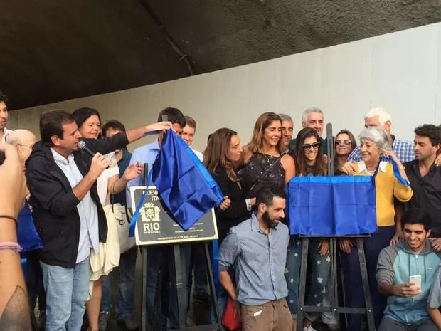 Prefeito Eduardo Paes participou de inauguração do Novo Joá (Foto: Matheus Rodrigues / G1)