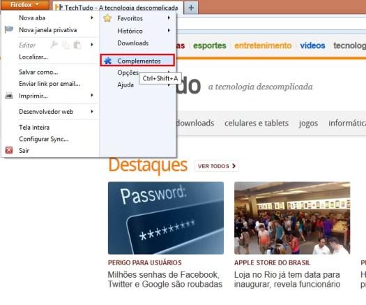 No Firefox, vá em Complementos (Foto: Reprodução/Paulo Alves) (Foto: No Firefox, vá em Complementos (Foto: Reprodução/Paulo Alves))