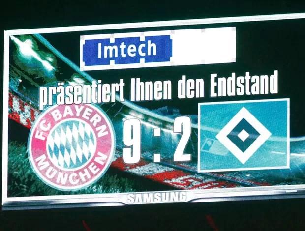 placar Bayern de Munique e Hamburgo 9 x 2 (Foto: Reuters)