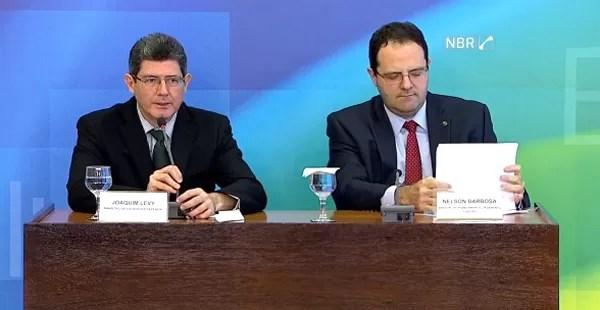 O ministro da Fazenda, Joaquim Levy, e o ministro do Planejamento, Nelson Barbosa. (Foto: Reprodução)