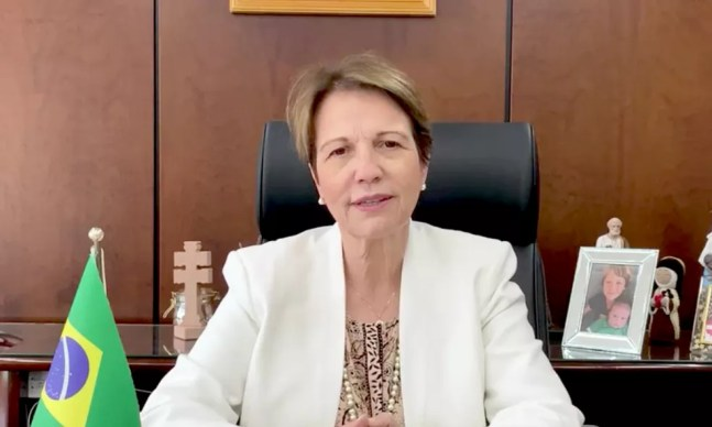Legenda Foto 1: Figura de destaque no cenário do agronegócio, Tereza Cristina ressalta a importância da produção brasileira. — Foto: Unigran