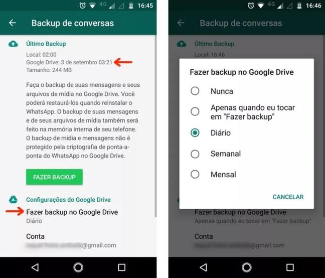 Ative backups diários do WhatsApp no Google Drive antes da migração para espaço ilimitado — Foto: Reprodução/Raquel Freire