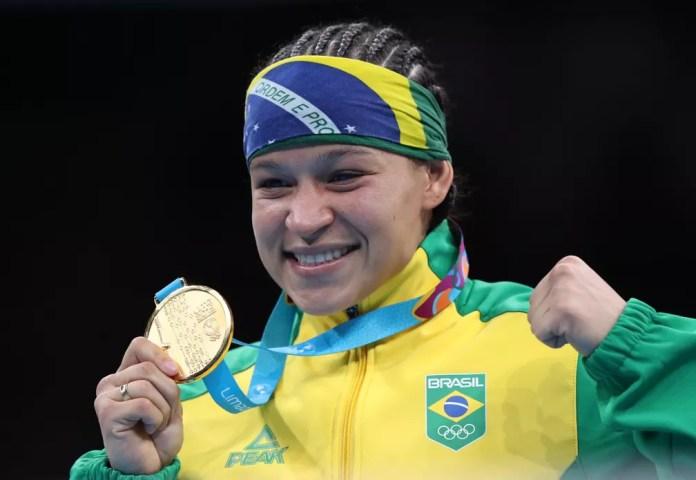 Beatriz Ferreira, a Bia, é ouro no boxe dos Jogos Pan-Americanos de Lima — Foto: Ivan Alvarado/Reuters