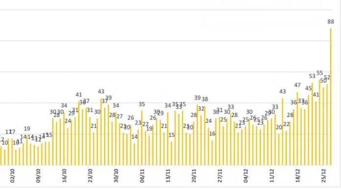 Manaus registrou, neste domingo (27), maior número de novos internados com Covid-19 dos últimos 7 meses. — Foto: Reprodução/FVS-AM