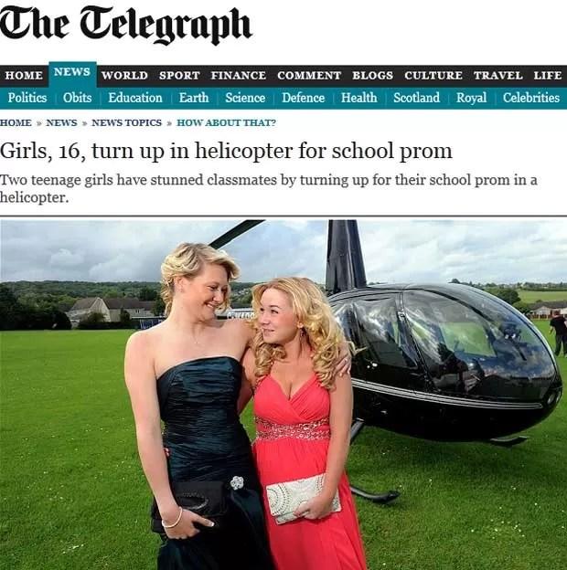 Chloe Webb e Lauren Huggett, 16 anos, foram de helicóptero para a festa de formatura (Foto: Reprodução)