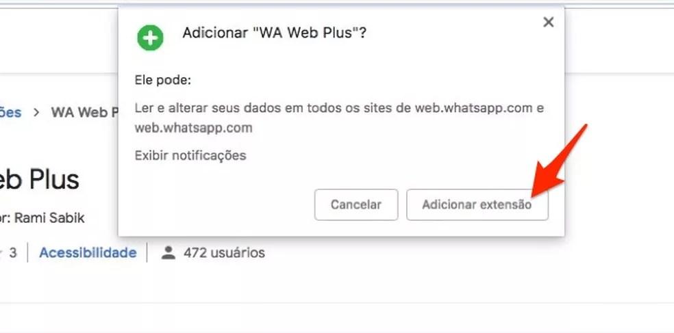 Ação que prepara o download da extensão WA Web Plus para Chrome — Foto: Reprodução/Marvin Costa