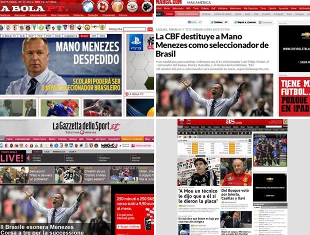 demissão Mano Menezes jornais  (Foto: Reprodução)