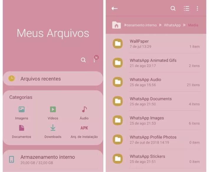 Exclua arquivos desnecessários do WhatsApp por meio do diretório do celular  — Foto: Reprodução/Graziela Silva