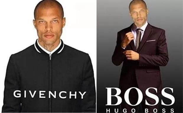 Usuários fizeram montagens com o rosto de Jeremy Meeks como modelo de marcas famosas (Foto: Reprodução/Twitter/EribeRami9)