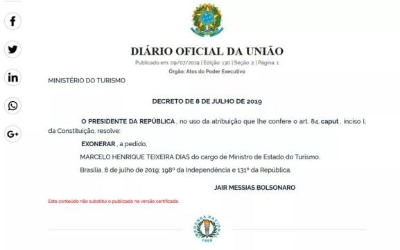 Exoneração de Marcelo Henrique Teixeira, conhecido por Marcelo Álvaro antônio — Foto: Reprodução / Diário Oficial da União