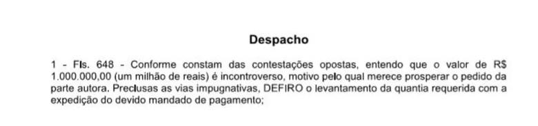 Decisão da juíza em caso Diego Souza (Foto: Reprodução)