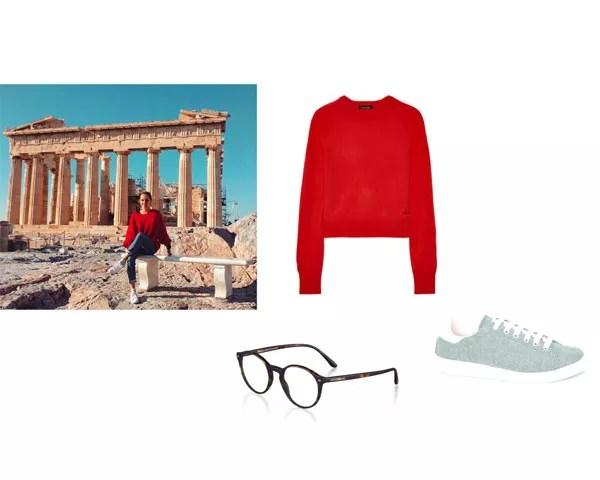 Partenon: suéter Kate Moss para Equipment; óculos Giorgio Armani; tênis La Collezionista  (Foto: Instagram)