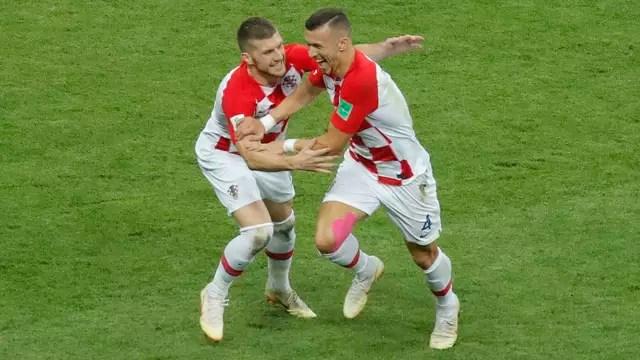 Perisic comemora gol em França x Croácia
