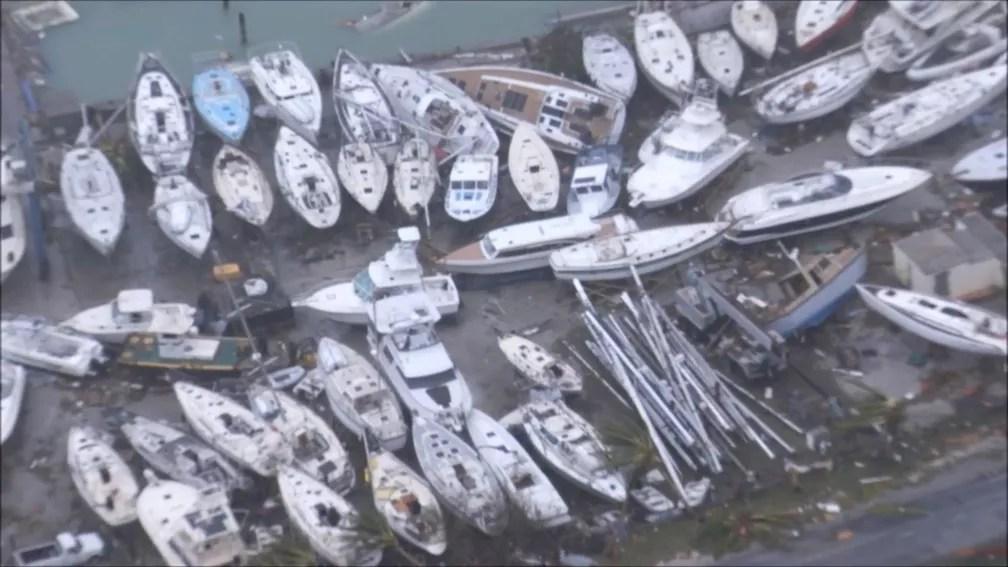 Danos causados pelo furacão Irma em Sint Maarten, parte holandesa da ilha de São Martinho, no Caribe (Foto: NETHERLANDS MINISTRY OF DEFENCE via REUTERS )