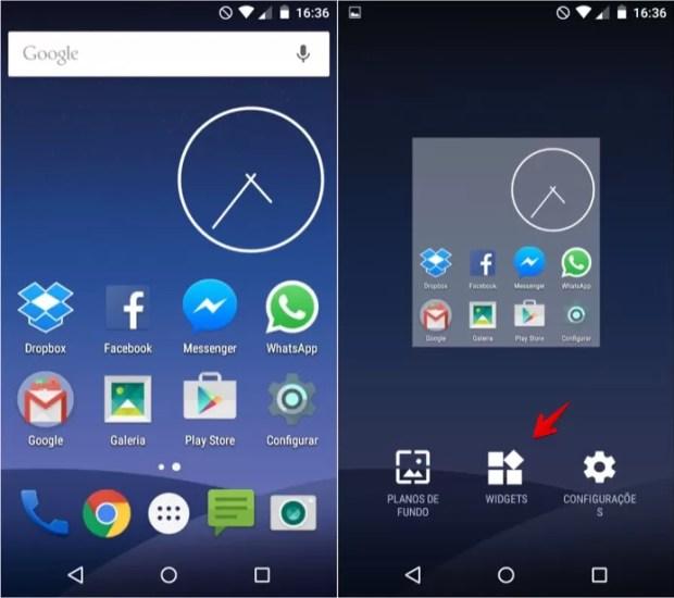 Abra o gerenciador de widgets do Android