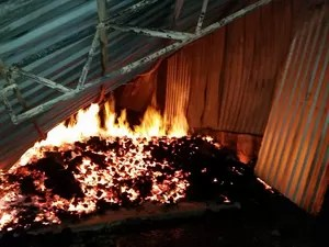 Incêndio atingiu fábrica de laticínios no interior de Imigrante (RS) (Foto: Corpos de Bombeiros/Divulgação)