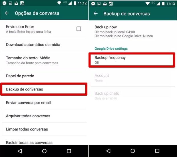 Configurando o backup do Whatsapp